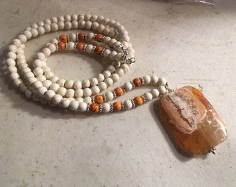 Turquoise Necklace - White & Orange Jewelry - Long - Statement - Sterling Silver - Agate Gemstone Jewellery - Fashion -Trendy