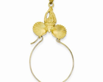 14K Yellow Gold Seashells Shells Charm Holder Pendant LKQD5