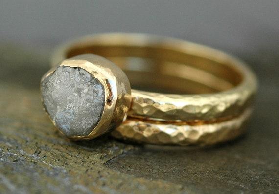BezelSet Rough Large Diamond Engagement Ring and Wedding Band