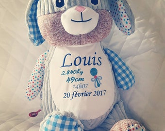 Personalized plush blue bunny