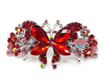 Butterfly design crystal hair barrette clip bridal clip bridal barrette