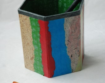 Hanji Patchwork Pen Holder Pencil Case Desktop OOAK Paper Multicolor Green Organic Design