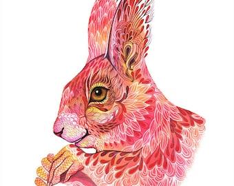 The squirrel spells, magic animal watercolor art print, size 10'x8'/A4 (No. 39)