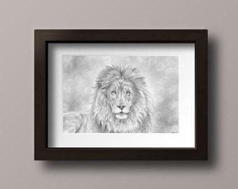 Lion Print - Lion Drawing Print - Lion - Lion Art Print - Lion of Judah - Wizard House - Book Lover Gift - Lion Wall Art - Lion Wall Decor