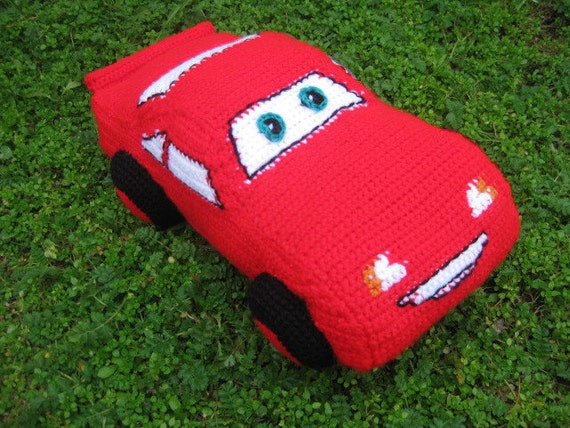 Crochet Pattern Toy Pillow Car Mcqueen From Cars Movie From