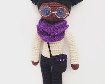 Afro Puffs Crochet Doll Pattern, Crochet Doll, African American Doll