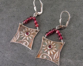 Garnet purse earrings, handmade recycled fine silver floral earrings-OOAK