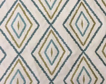Blue and Green Embroidered Diamonds - Upholstery Fabric by The Yard - Home Decor Fabric - Terry