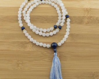 White Jade Mala Beads Necklace with Lapis Lazuli | 8mm | 108 Buddhist Prayer Beads with Tassel | Free Shipping