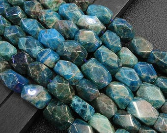 """16"""" inch Ploygon Faceted Apatite Beads, Natural  Gemstone   Beads, 9.5x14mm 11x15.5mm Ploygon Beads  Jewelry Making  Jewelry DIY Supplies"""