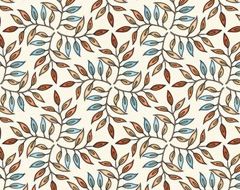 Leaf Geo Fabric / Tan blender Fabric  / Tan, Blue Fabric / Where The Wise Thing / Quilting Treasures 26532 Fabric By The Yard & Fat Quarters