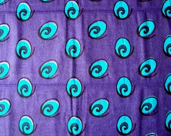 Purple with Green swirls African wax print batik fabric BY THE YARD 100% cotton