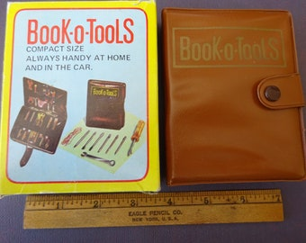 Vintage Book-O-Tools Travel Tool Set Pack with original box Made in Hong Kong
