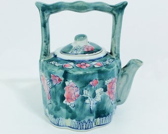 Small Vintage Ceramic Teapot with Teal Water-Color-Style Glazed Finish and Pink Flowers