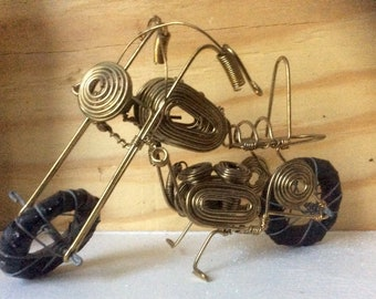 Motorcycle Sculpture Metal Wire Art