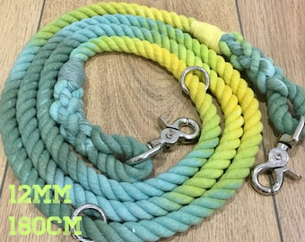 Natures Rainbow rope leash- 12mm width rope, 180cm in length, adjustable, dual clips. Perfect for medium/large breed