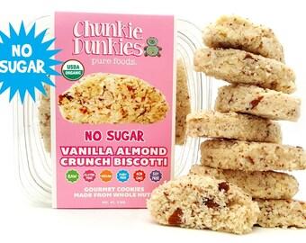 Vanilla Almond Biscotti with Stevia, vegan biscotti, vegan desserts, vegan snacks, no sugar biscotti, gluten free biscotti, healthy biscotti