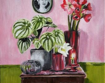 Original Floral Painting,Oil on canvas,  flower arrangement painting, nostalgic art, still art, quadro a oleo, oleo flores,