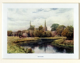 A R Quinton | Antique Lithographic Print | River Thames | Lechlade | Matted | Image size 6.125 x 4.25 inches | 1907 | For framing
