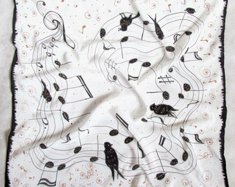 """Silk scarf. Hand painted scarves Batik shawl """"Music'' hand-painted on silk. Handmade Scarves. Black and white square scarf. Made to Order."""