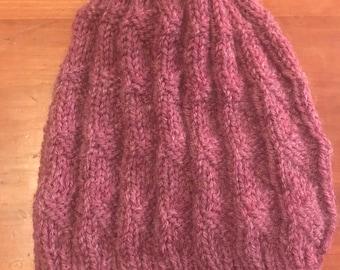 Dusty Rose Knit Hat