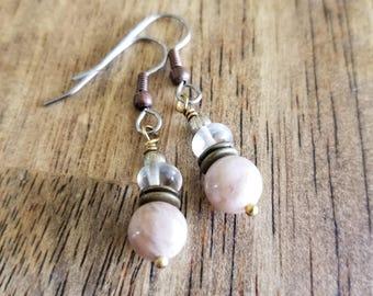 Sunstone & Quartz Earrings