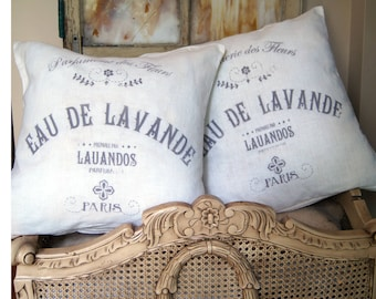 French Country Pillow. Vintage French Perfume Pillow. Custom Pillow Cover. Modern Farmhouse Decor. Cottage Pillow.