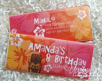 Hawaiian Luau Candy Bar Wrapper -Chocolate Bar Favor - For Luau Birthday, Tropical, Beach-theme, Tropical Bridal Shower, Destination Wedding