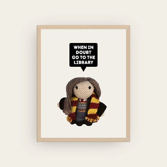 Hermione: When in doubt go to the Library! Amigurumis Prints.