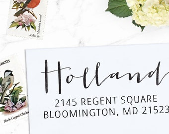 Custom Address Stamp, Return Address Stamp, Wedding address stamp, Calligraphy Address Stamp, Self inking or Eco Mount stamp - Holland