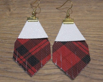 Holiday Titan Leather Earrings - Red Plaid and White Glitter