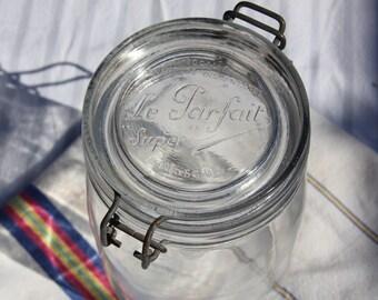 Le Parfait Super 1L storage jar.  French Vintage equivalent of a Kilner, canning or preserving jar