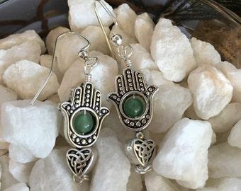 Hamsa Hand and Green Aventurine Earrings
