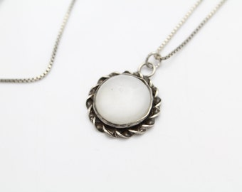 "Vintage Round Pendant with Glass Center in Sterling Silver on 18"" Chain. [10016]"