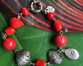 Lovely Red Coral Bracelet. Red Coral and Silver bracelet. Red Coral statement bracelet. Antique Silver and Red Coral bracelet.