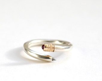 Pencil Ring, Pencil, Silver Ring, Ruby Ring, Handmade Ring, Handmade Silver Ring, Silver Band, Stationery Gift, Ring, Silver Jewellery, Ruby