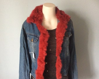 Red faux reworked denim jacket MED
