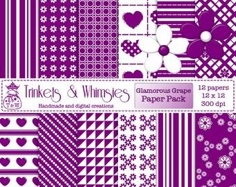 Glamorous Grape Digital Scrapbook Papers - Instant Download