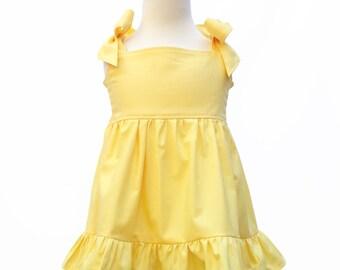 Yellow Bow Dress with Ruffle, Girls Yellow Dress, Girls Casual Dress, Girls Birthday Dress, Girls Dress, Girls Bow Dress, Girls Cotton Dress