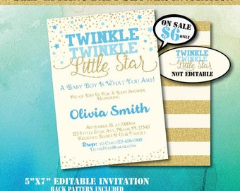 Twinkle Twinkle Little Star Baby Shower Invitation-Editable Baby Shower Invite-Printable Invitation-Twinkle Twinkle Little Star-B-402