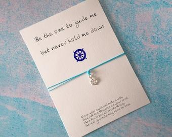 Nautical bracelet, Ship wheel bracelet, Friendship silver bracelet, Silver Bracelet, Bff bracelet, Best friend bracelet, Travel gift