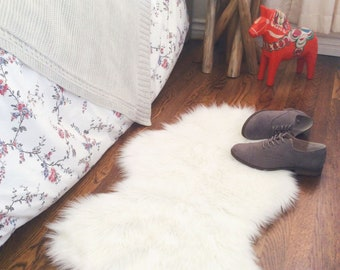 White Faux Sheepskin Shag Rug Decorative Nursery Rug Cozy fur Bedroom rug Handmade Faux Sheepskin All Sizes