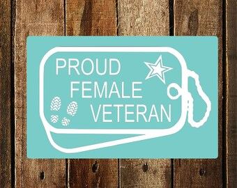 Proud Female Veteran Decal in White
