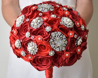 Red Brooch Bouquet Red bridal bouquet Satin flowers bouquet Ready to ship bouquet Jeweled bouquet