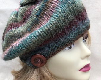 Warm, Soft and Stylish Handknitted Slouch Beret/Tam, Wool and Silk Blend, Multi-Color