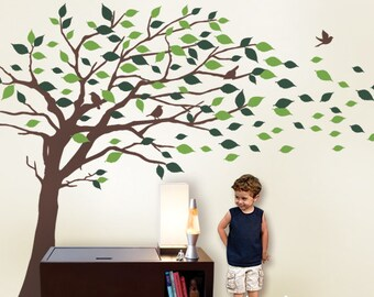 Wall Decals Tree wall decal: Elegant Style Blowing Leaves Tree Decal for Baby Nursery or Home