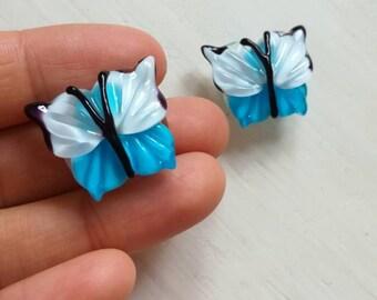 Lampwork handmade glass beads  bue butterfly