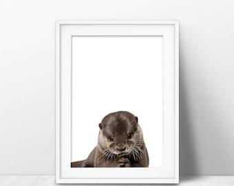 Otter print, otter nursery art, PRINTABLE art, Nursery decor, Animal art, Baby animals, Nursery wall art, Kids art, Zoo animal nursery, sea