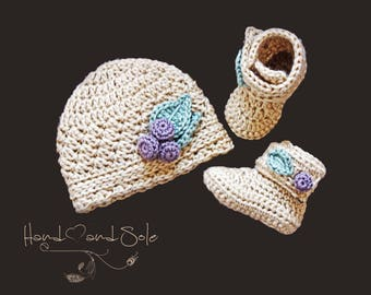 Crochet Pattern Baby Hat and Booties, Crochet Hat Pattern and Crochet Booties Pattern for Baby Girl - Sizes Newborn to 15 Mos