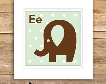 Elephant Baby Wall Art, new baby gifts, birth, details, nursery, square, E, Animal